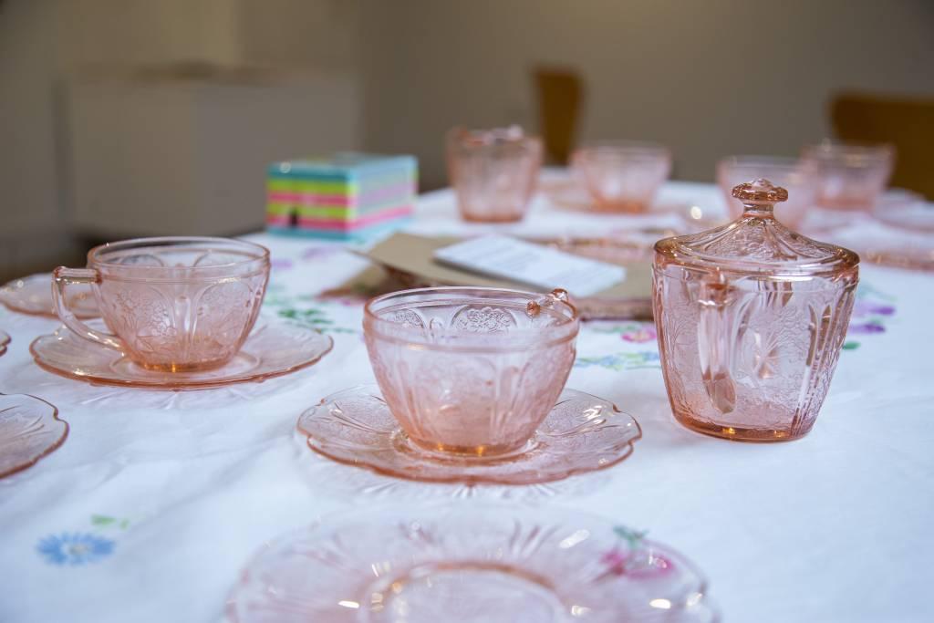 Pink glass tea set
