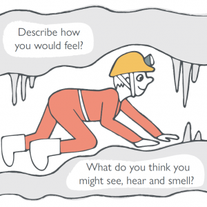 Illustration of someone crawling through a cave wearing a yellow helmet and red caving suit.